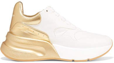 Metallic-trimmed Leather Exaggerated-sole Sneakers - Gold