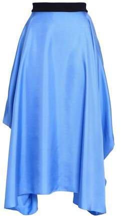 Asymmetric Silk Satin-twill Midi Skirt