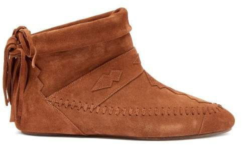Nino Fringed Suede Ankle Boots - Womens - Tan