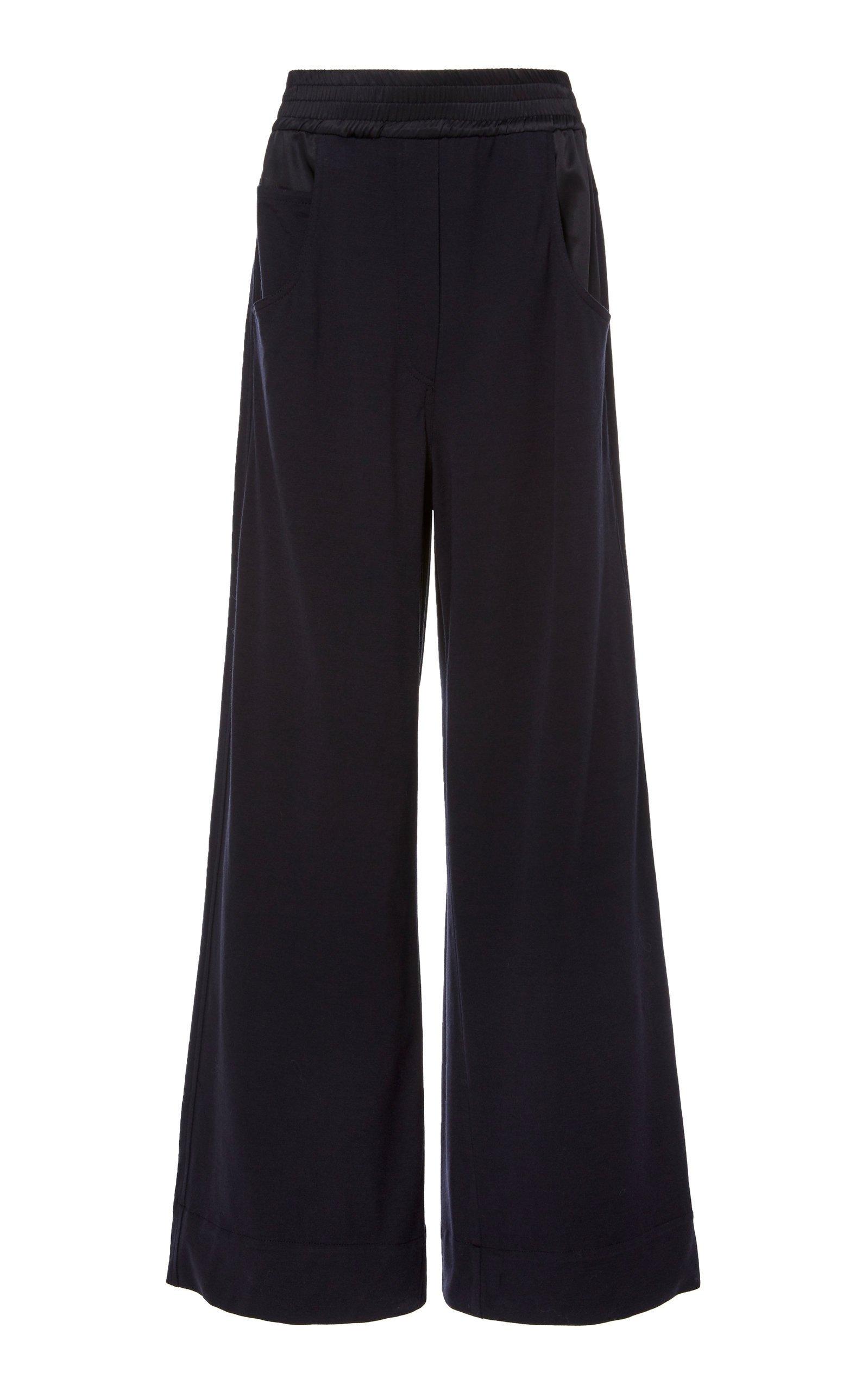 Brunello Cucinelli Satin-Paneled Wool-Blend Wide-Leg Pants