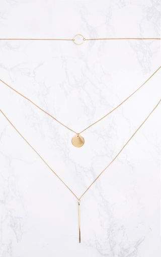 Gold Layered Disk Plunge Necklace | Necklaces | PrettyLittleThing