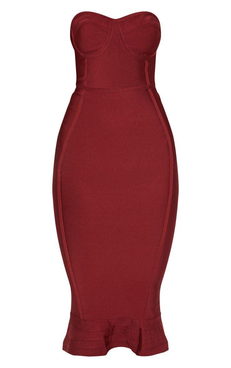 Dark Red Bandage Frill Midi Dress   PrettyLittleThing USA