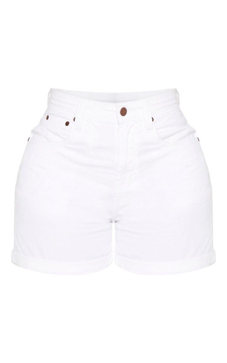 Shape White High Waist Fitted Denim Shorts | PrettyLittleThing USA