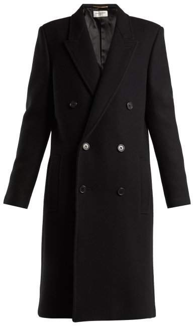 Double Breasted Wool Coat - Womens - Black