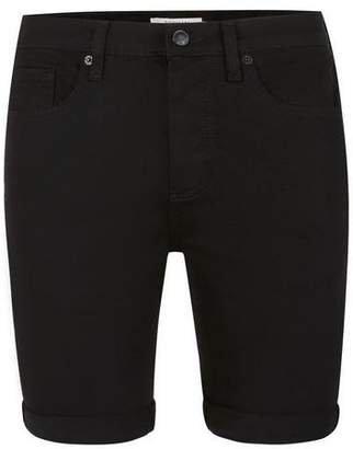 Topman Mens Black Stretch Skinny Denim Shorts