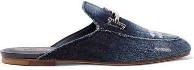Embellished Distressed Denim Slippers - Blue