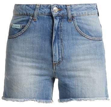 High Rise Denim Shorts - Womens - Denim