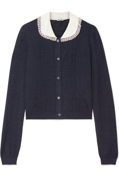Miu Miu   Embellished tulle-trimmed cashmere and silk-blend cardigan   NET-A-PORTER.COM