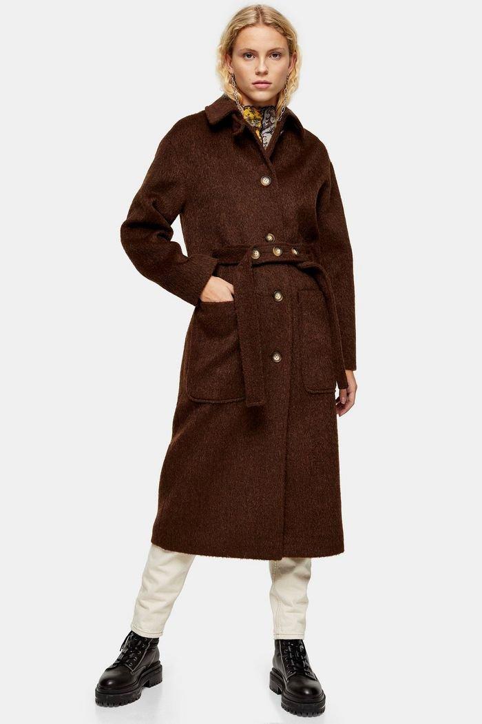 Brown Brushed Coat | Topshop