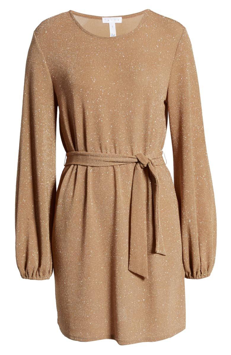 Leith Sparkle Tie Waist Long Sleeve Dress | Nordstrom