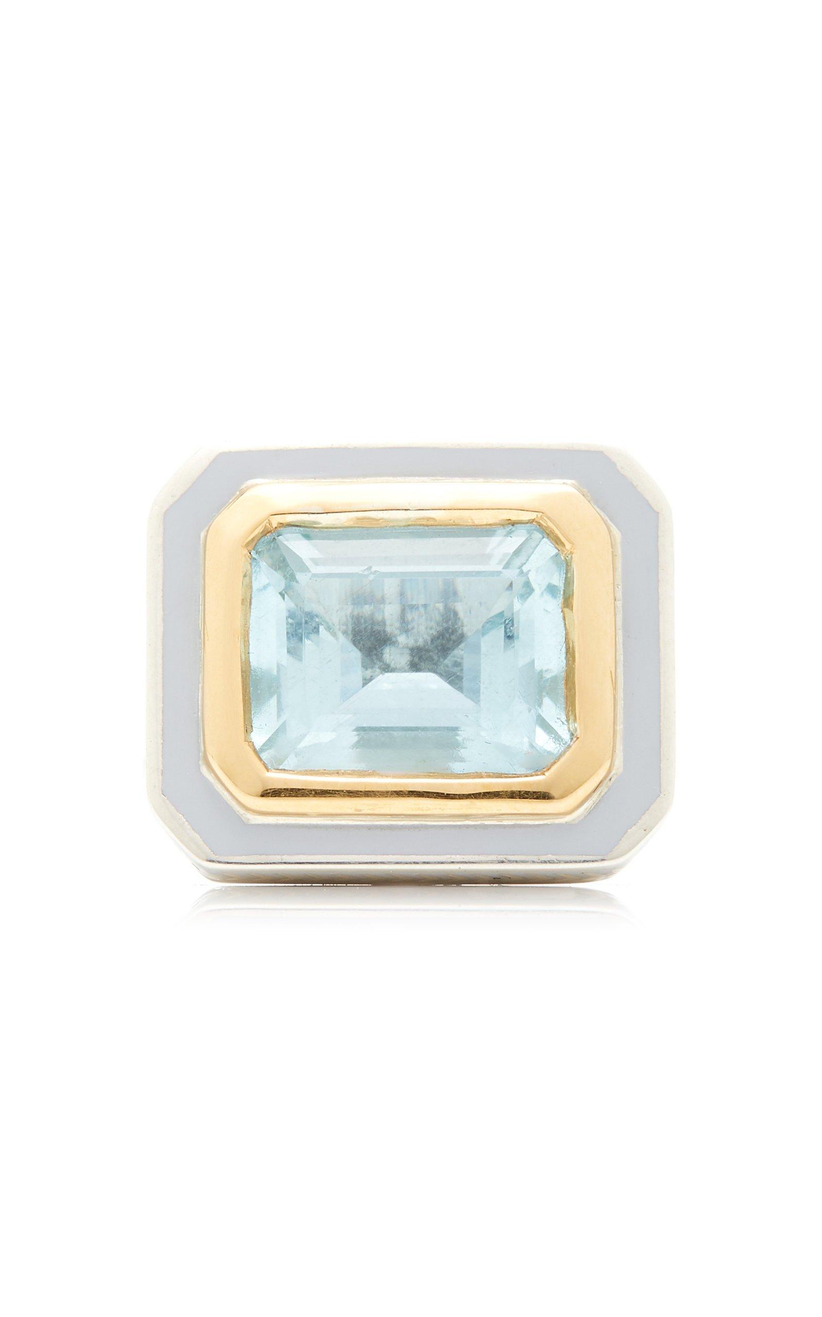 Alice Cicolini 22K Gold Sterling Silver And Aquamarine Ring