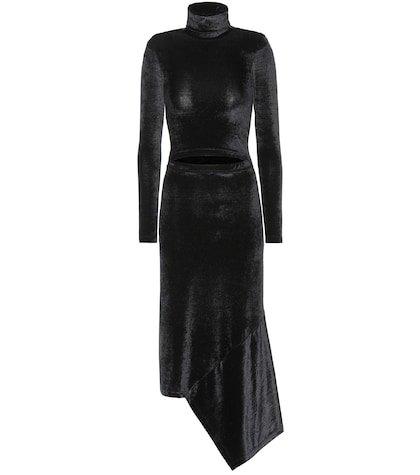 Asymmetric velvet midi dress