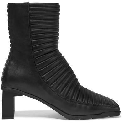Quilted Leather Ankle Boots - Black