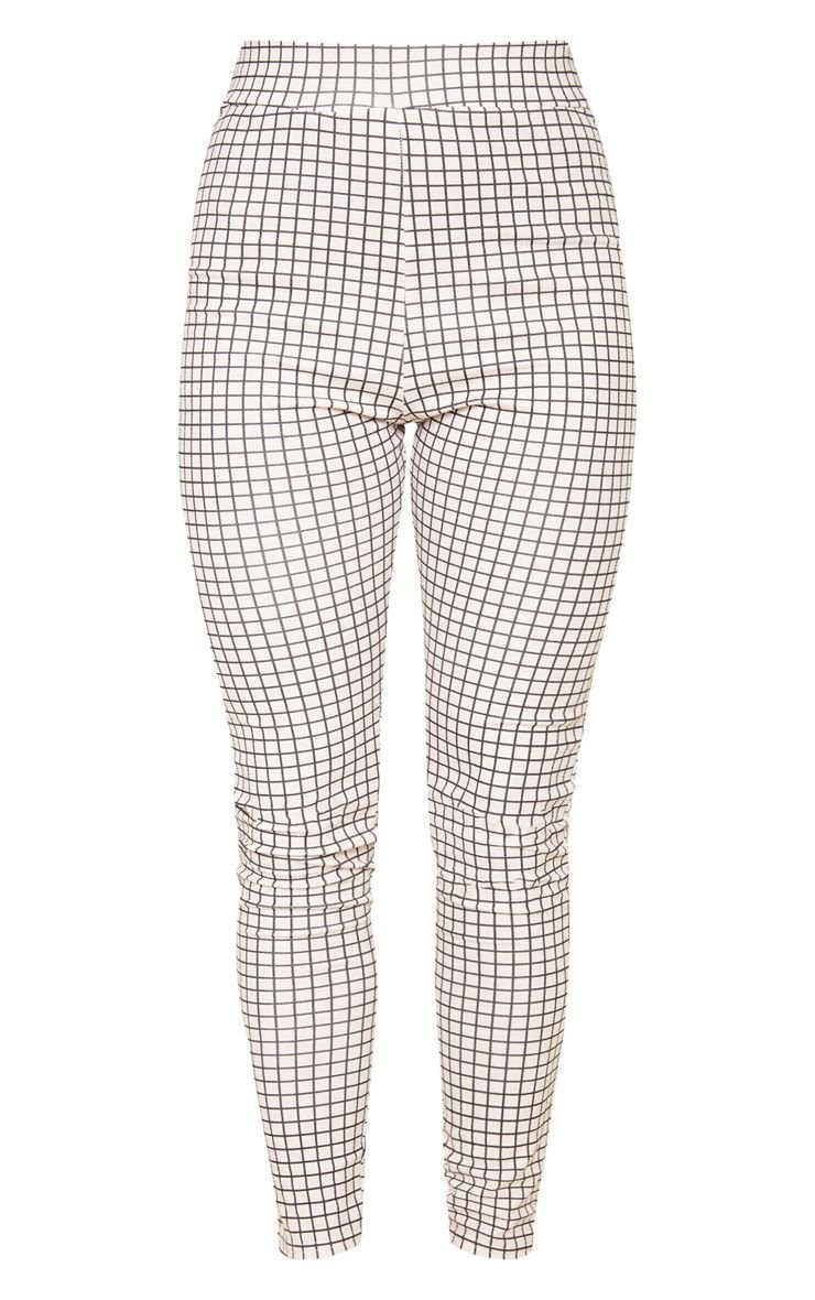 White Check Print Skinny Trouser - New In | PrettyLittleThing
