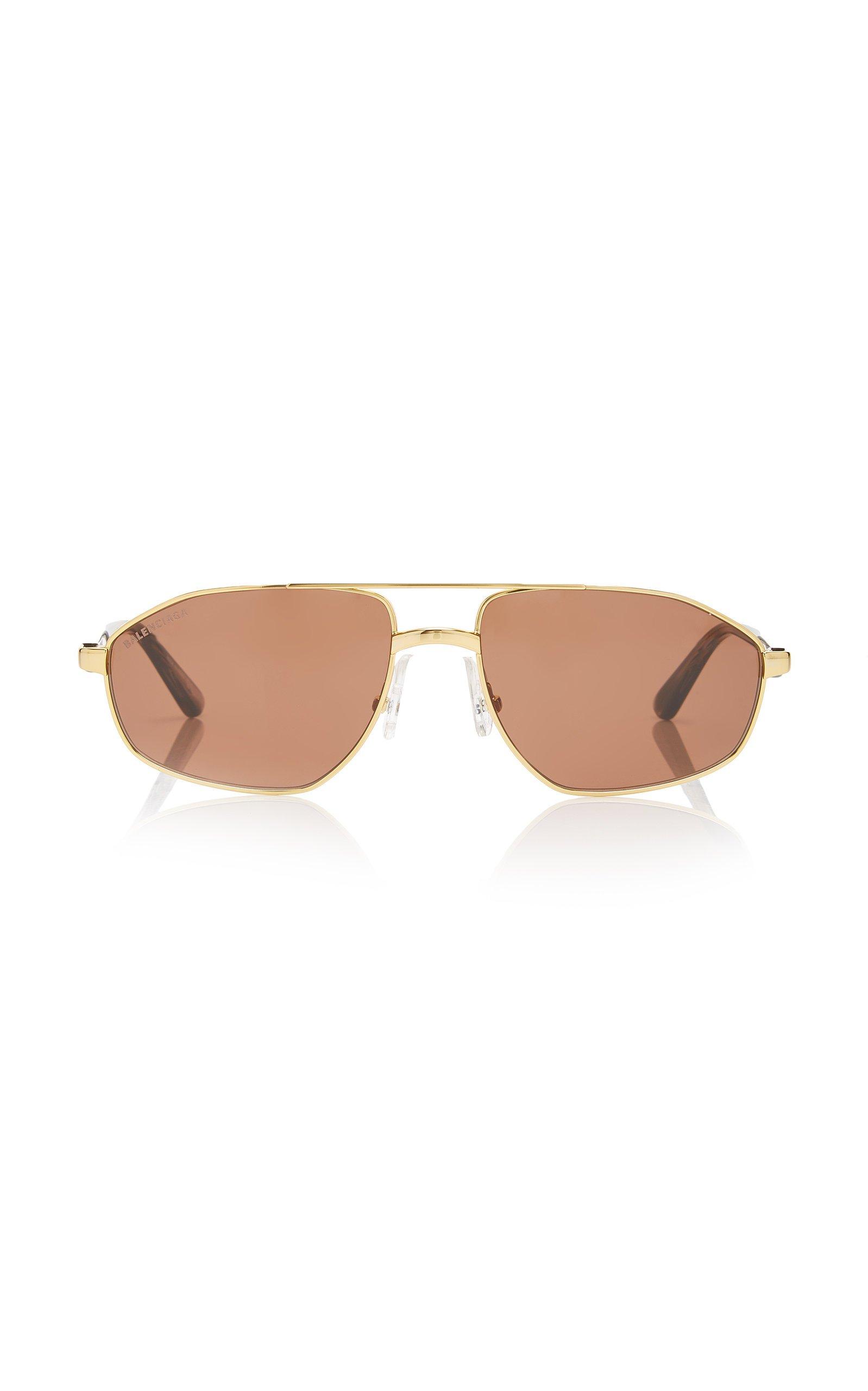 Balenciaga Gold-Tone Metal Aviator-Style Sunglasses