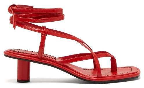 Cylindrical Heel Wrap Around Leather Sandals - Womens - Red