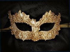 Sequined Gold Masquerade Mask With Rhinestones And Embroidery - Embellished Venetian Style Gold Masquerade Ball Mask | Much Ado About Nothing Costumes | Pinter…