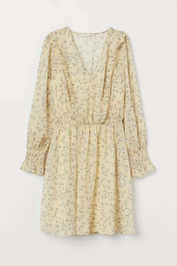 V-neck Chiffon Dress - Yellow