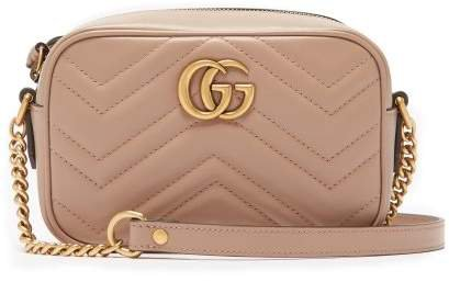 Gg Marmont Mini Quilted Leather Cross Body Bag - Womens - Nude
