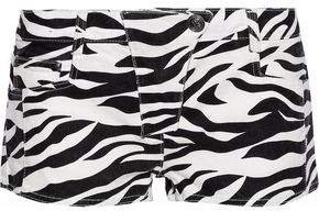 Zebra-print Mid-rise Denim Shorts