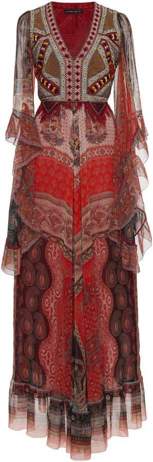 Etro Patchwork Printed Silk Dress Size: 38