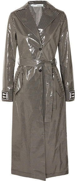 Checked Vinyl Trench Coat - Black