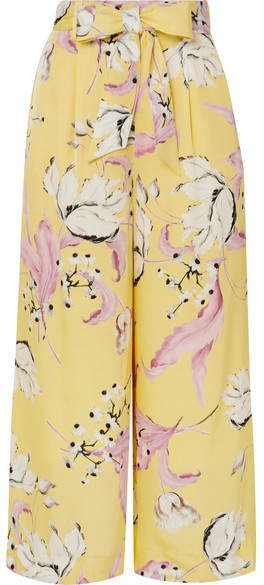Everett Floral-print Satin-twill Culottes - Yellow