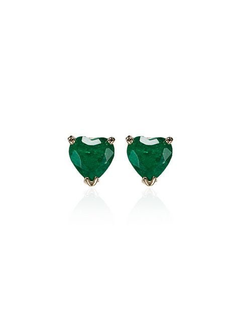 Shay 18K Gold heart-shaped Emerald Stud Earrings