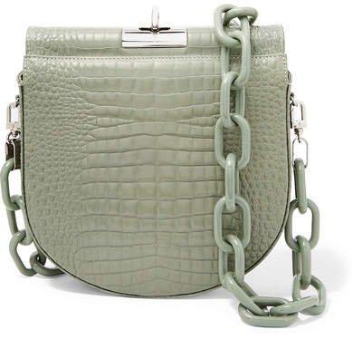 Gu_de - Demi Lune Croc-effect Leather Shoulder Bag - Green