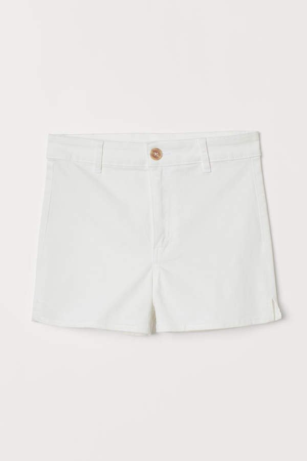 Twill Shorts High Waist - White