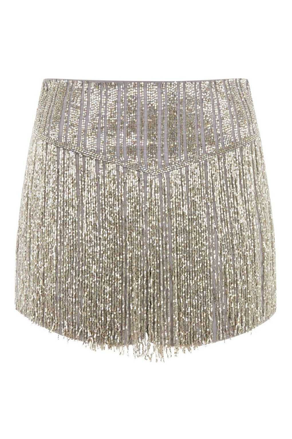 gold fringed sequin shorts