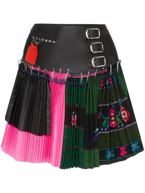black pink leather pleated skirt