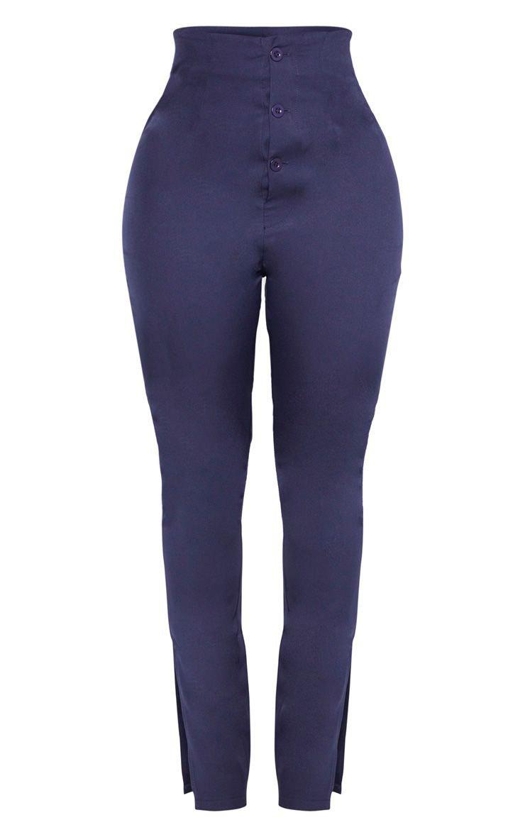 Shape Navy Button Detail Straight Leg Trouser | PrettyLittleThing USA