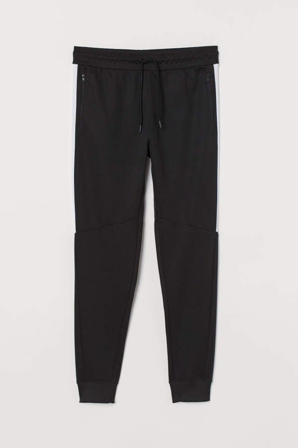 Sweatpants with Side Stripes - Black