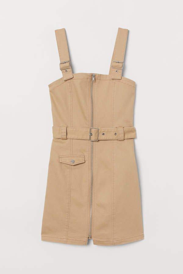 Twill Bib Overall Dress - Beige