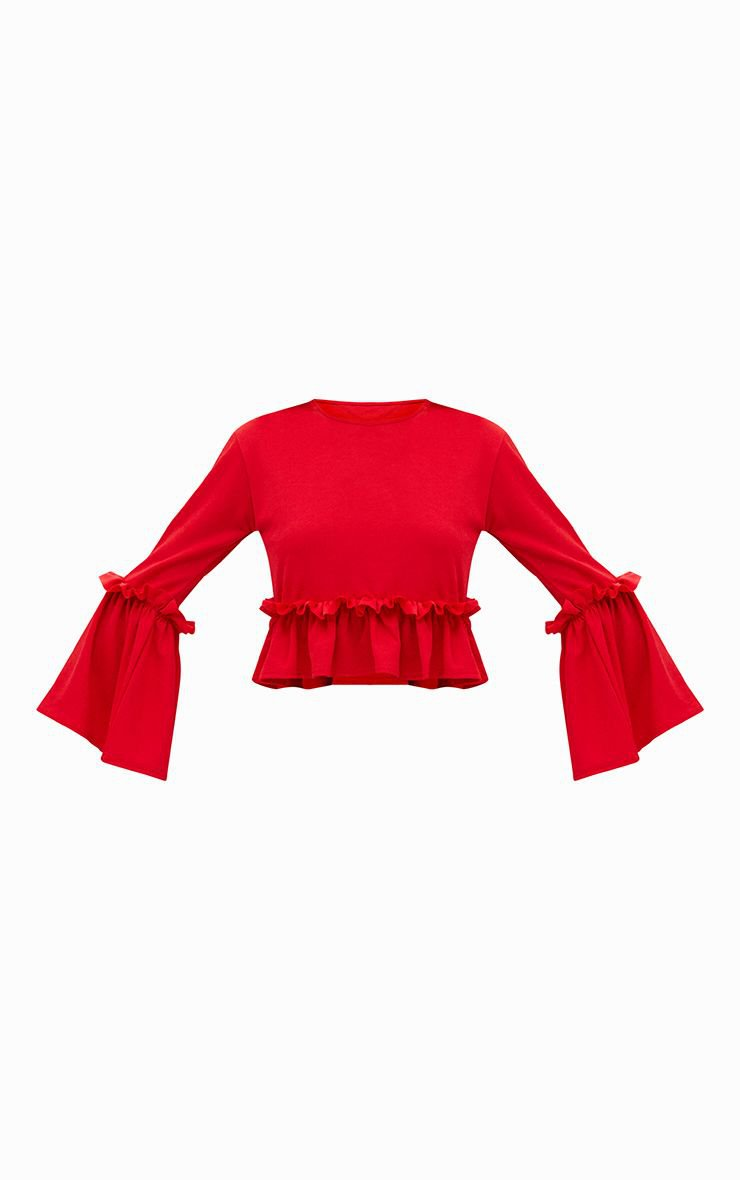 Red Frill Sleeve Top | Tops | PrettyLittleThing