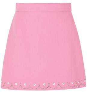 Studded Wool-crepe Mini Skirt