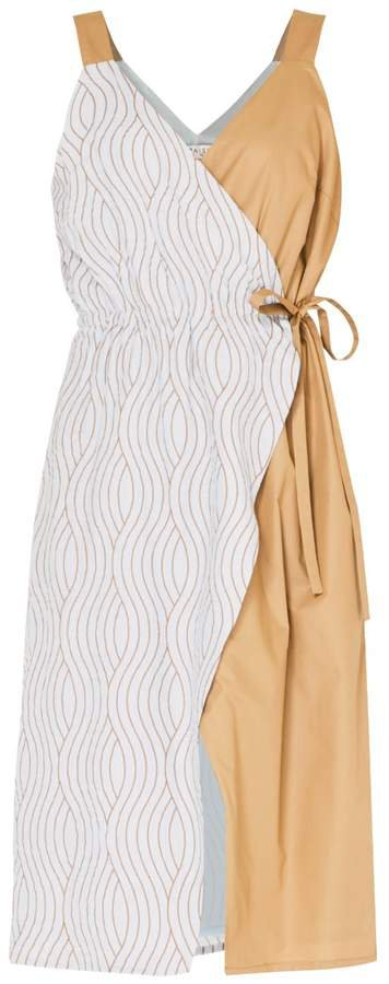 PAISIE - Wave Print Wrap Dress With Block Colour Panel In Light Blue Gold and Tan