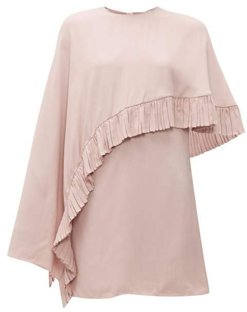 Asymmetric Cape Crepe Mini Dress - Womens - Pink