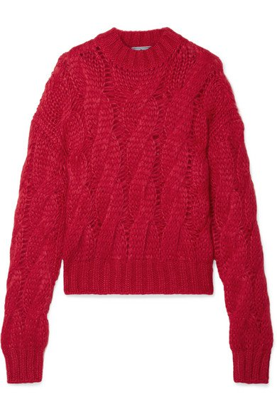 Prada | Cable-knit mohair-blend sweater | NET-A-PORTER.COM