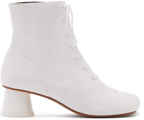 Cup Heel Leather Ankle Boots - Womens - White
