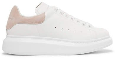 Suede-trimmed Leather Exaggerated-sole Sneakers - White