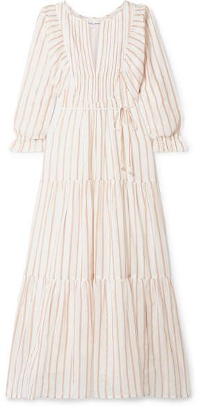 Francesca Tiered Striped Cotton And Lurex-blend Voile Midi Dress - Ivory