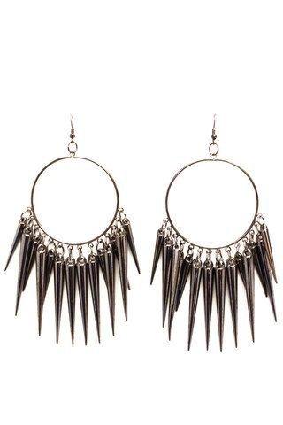 drop hoop spike earrings