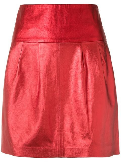 Andrea Bogosian Metallic Leather Skirt