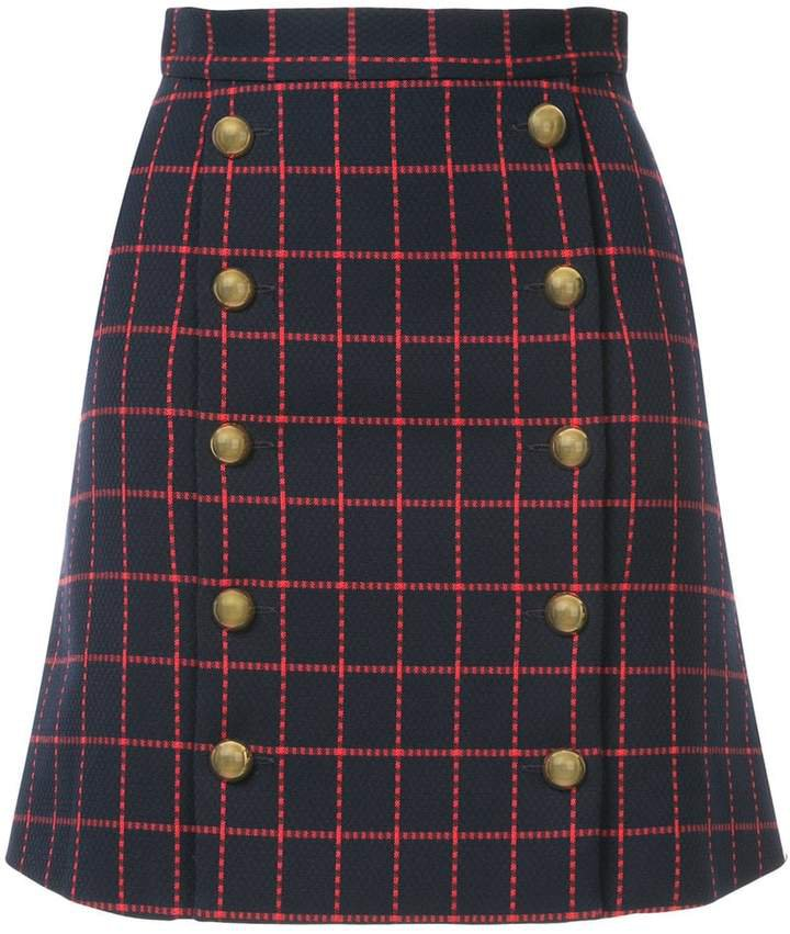 Macgraw high-waisted checked skirt