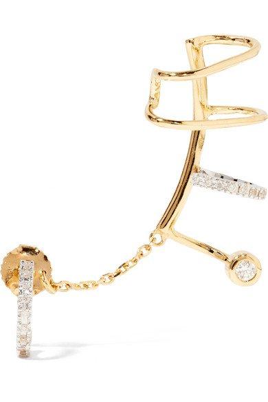 MARIA BLACK Ines Blanc convertible 14-karat gold, rhodium-plated and diamond ear cuff$1,850