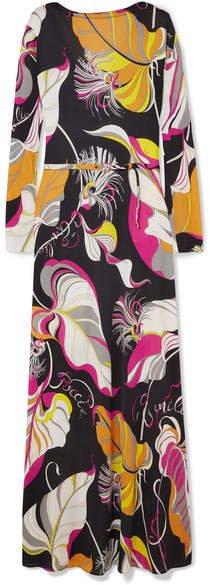 Printed Silk Crepe De Chine Maxi Dress - Black