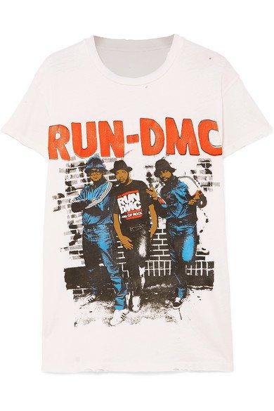 MadeWorn | Run-DMC distressed printed cotton-jersey T-shirt | NET-A-PORTER.COM
