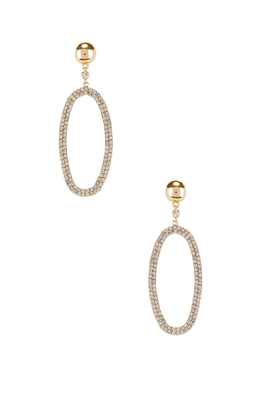 Rhinestone Oval Dangling Earring